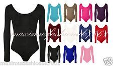 Womens Ladies Long Sleeve Stretch Bodysuit Leotard Tshirt Top uk 8-26