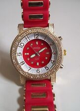 Men's  Gold Finish Hip Hop Bling/Red  Rubber Silicon Band Fashion Watch