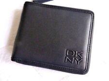 DKNY de cuero negro con cremallera cartera para notas y tarjetas con doble pliegue de NUEVO