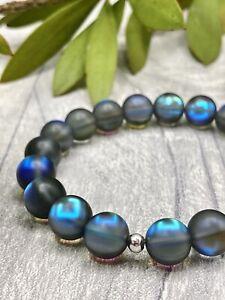 Aurora Handmade Elasticated Smoked Mermaid Iridescent Glass Bead Bracelet UK