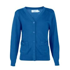 BHS Cotton Uniform Girls V Neck School Knitted Cardigan with pocket Royal Blue