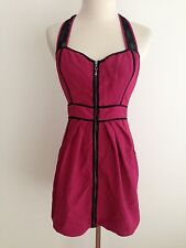 GUESS Sleeveless Halter Dress Magenta & Black Size 5
