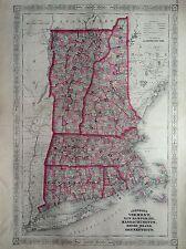 JOHNSON'S VERMONT NEW HAMPSHIRE CONNECTICUT  incisione 1866  STATI UNITI MAP