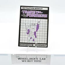 Weirdwolf Action Figure Robot Instruction Manual 1987 Hasbro G1 Transformers