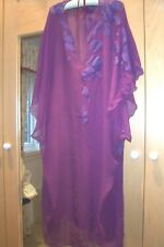 Vintage purple silk long dress with matching wrap, size 16/18