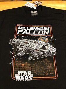 Star Wars T Shirt Black Size Large Han Solo Millennium Falcon Ship New