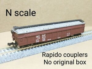 Santa Fe AT&SF covered gondola gon car N scale Trix brown roof steel coil mill