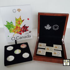 2014 O' Canada- $25 .9999 Fine Silver Proof set of 5 coins in Wooden Case(OOAK)