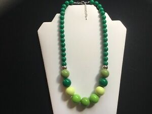 Women's Chunky Multi Green Bead Necklace