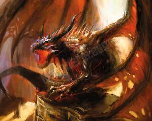 Quadro legno 50 x 40 cm stampa in alta qualità fantasy drago ali spiegate fuoco