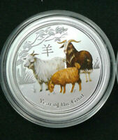2015 1/2 oz .999 Fine Silver Australian Year Of The Goat Colored Coin