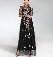 Women's elegant Embroidery  Long Runway Maxi Dress Sleeve Flower Floral dress