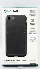NEW Nomad iPhone 7 PLUS + Gray LEATHER Wallet Case 2 Card Slot Patina Modern