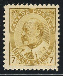 King Edward VII Scott's # 91 - 7 cent Olive Bister - VF MH CV $500.00 US