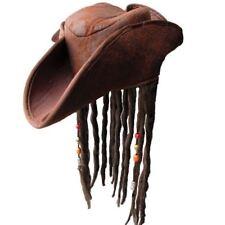 Jack Sparrow Style Pirate Hat with Brown Dreadlocks Fancy Dress Headwear