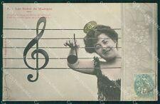 Musica Spartito Note Lady postcard cartolina QT5407