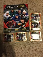 2017-18 Panini NHL Hockey Sticker Collection Album & 5 packs of stickers NEW