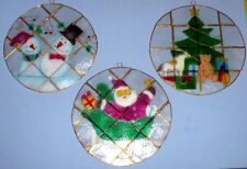 3 VINTAGE CHRISTMAS WINDOW HANGING DECORATIONS MADE FROM SHELL NIB