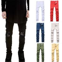 Men Stylish Hole Ripped Jeans Pants Biker Skinny Slim Straight Denim Trousers