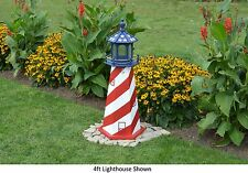 Amish-Made Red, White, & Blue Patriotic Lighthouse with Lighting - In 13 Sizes!