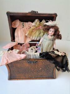 "Rare Antique 6"" Kammer & Reinhardt #191 Miniature Bisque Doll + Trunk Clothes"