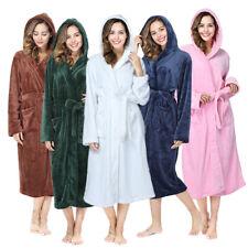 Long Hooded Robe for Women Luxurious Flannel Fleece Full Length Winter Bathrobe