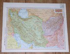 1951 ORIGINAL VINTAGE MAP OF IRAN KUWAIT AFGHANISTAN VERSO NORTHERN INDIA NEPAL