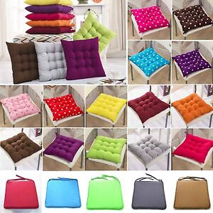 Square Chair Soft Cushion Tie on Seat Comfy Pad Garden Dining Kitchen Room Decor