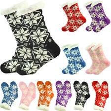 Women's Thick Nonskid Sherpa Fleece Lined Thermal Snow Fuzzy Slipper Socks LOT