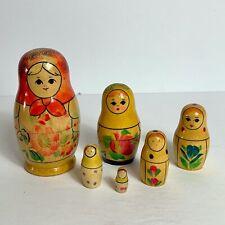 Russian Matryoshka Wooden Nesting Dolls, Set of 6