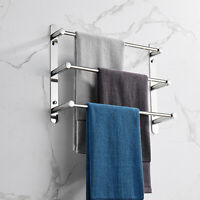 Bathroom Towel Rack Wall Mounted Holder 3 Stagger Layers Towel Stainless Steel