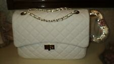 XL ITALIAN GENUINE LEATHER WHITE QUILTED HANDBAG*33cmX22cmX10cm*GOLD CHAIN
