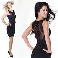 Etuikleid Business Minikleid Spitze Spitzenkleid Abendkleid Kleid Schwarz Rücken