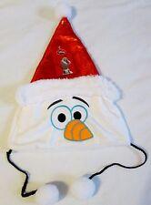 Nwt Disney Frozen Olaf Plush Christmas Santa hat ages 6+ sequin look