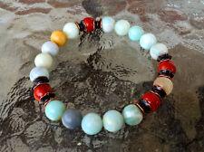 Amazonite Jasper Wrist Mala Chakra Yoga Bracelet Energized Beads, 8 mm, Prayer B