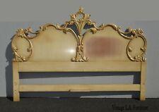 Vintage French Provincial Italian Rococo Louis XVI Creme King Headboard w Scroll