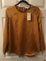 Michael Kors Womens Long Sleeve Marigold Top With Gold Detail Sz Small MSRP 120