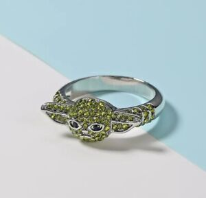 Green Crystal BABY YODA Grogu Mandalorian Star Wars Jewellery Ring UK