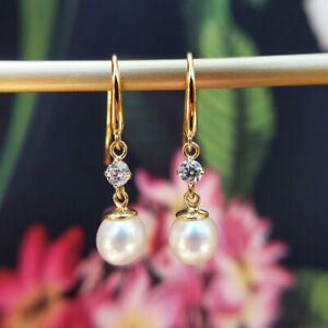 Dainty 9ct Yellow Gold Pearl and Cubic Zirconia Dangle Earrings, Women's Ladies