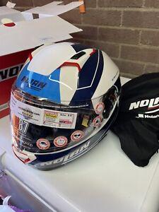 Large Nolan N87 Red White & Blue Motorcycle Crash Helmet Free Pin-lock