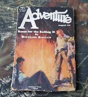 Vintage Adventure Aug 1928 Book Pulp Magazine Bertrand Sinclair CS