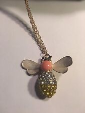 BETSEY JOHNSON  Crystal BEE Pendant Necklace Sweater Chain-N1746