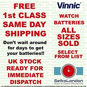 VINNIC Alkaline, Silver Oxide, & Lithium ALL SIZES OF WATCH BATTERIES - FAST!!