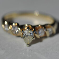 Pear Solitaire Diamond Ring Accents 14K Yellow Gold 3.4g Size 7.75 Jewelry 124