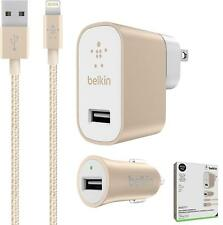 Genuine Belkin Mixit  Car+Home Charger +4ft Lightning Cable for iPhone Gold