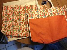 Jute Tote Set, 3-Piece Orange/Multi, with cotton case, New
