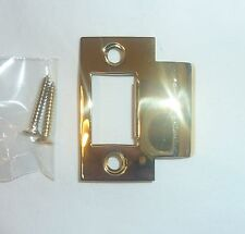 "(1) Decorlux Solid Brass Door 2-1/4"" T-Strike Plate & 2 Screws POLISHED BRASS"