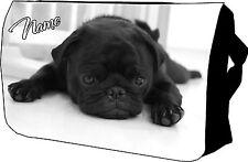 Cute Black Pug Bag, College / Messenger / School / Laptop, Great Birthday Gift
