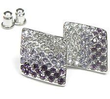 NEU 2cm OHRSTECKER Rhodiniert STRASSSTEINE Kristallklar/Lila/Violett OHRRINGE