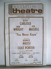 YOU NEVER KNOW Playbill KITTY CARLISEL / BOB WRIGHT / COLE PORTER MA 1975